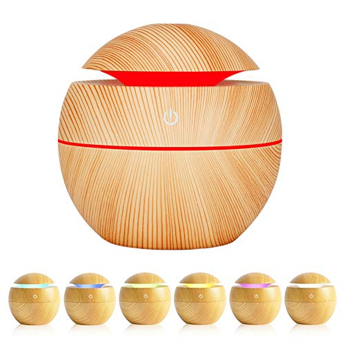 Essential Oil Diffuser,Anguipie 130ML Aromatherapy Diffuser with 7 Colors Lights, Ultrasonic Essential Oil Diffuser for Home Office Room,Light Colored Wood