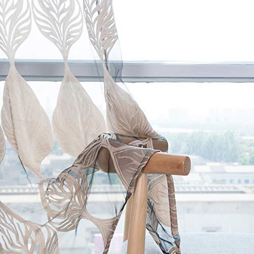 ToDIDAF Transparente Gardinen Vorhang Tüll Fenster Behandlung Voile drapieren Volant 1 Paneelstoff für Zuhause Wohnzimmer Schlafzimmer Dekoration 100 x 270 cm (Kaffee)