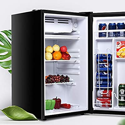Mini Dorm Compact Refrigerator, Safeplus 3.2 Cu.Ft Compact Refrigerator, Under Counter Refrigerator with Small Freezer, Removable Glass Shelves - Drinks Food Beer Storage for Office, Dorm or Apartment