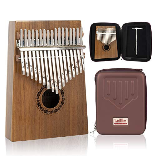Tehillim Kalimba 17 Keys Thumb Piano with Hard Case, Study Instruction and Tunning Hammer, Portable Mibra Sanza African Wood Finger Piano, Gift for Kids Adult Beginners Professional (Walnut Wood)
