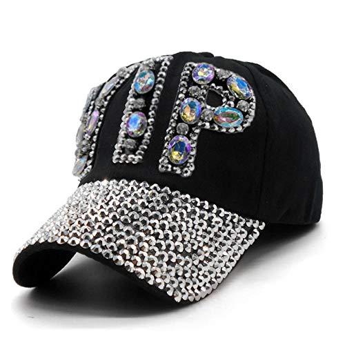 ZHXMI Unisex Damen VIP Baseball Cap Frauen Besetzt Kristalle Strass Pailletten Snapback Hüte Swag Vintage Denim Lässig Sun Gorras@C2
