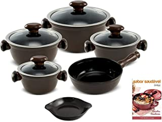 Jogo De Panelas Cerâmica Chef Ceraflame 5 Peças Chocolate e Brindes