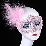 GRXIN Venecia Princesa Encaje Media Cara Lateral Pluma Máscara Cosplay Mascarada Media Cara Máscara Femenina,C