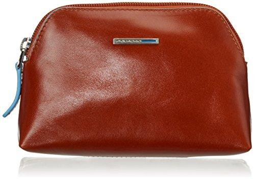 Piquadro Nécessaire Collezione Blue Square Beauty Case, Pelle, Arancione, 16 cm