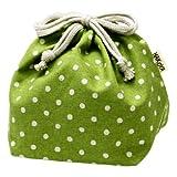 たつみや(Tatsumiya) きのこけし 巾着袋 グリーン(水玉) サイズ:約W13 D13 H17 53996