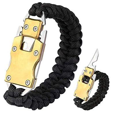 WEREWOLVES Paracord Knife Bracelet Survival Knife Bracelet, Multitool Tactical EDC Bracelet, Camping Hiking Survival Gear for Men & Women (Black - Golden Buckle)