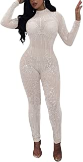 Sequin See Through Jumpsuits - Sexy Mesh Party Cocktail Bodycon One Piece Jumpsuit Romper Clubwear