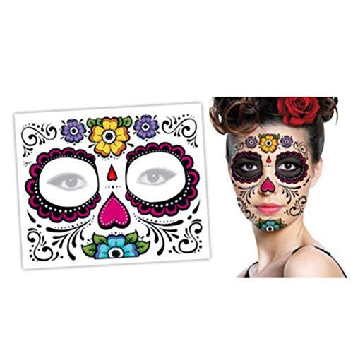 Goosuny 2 Stück Gesicht Stickers Halloween Tag Der Toten Gesichtsmaske Sugar Skull Tattoo Gruseliger Horror Beauty Aufkleber Party Dekor Aufkleber (A)