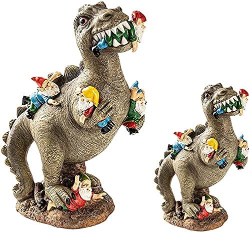 Estatuas De Gnomo Decoración Al Aire Libre, Resina Dinosauria Come Enano, Resina Jardinería Decoración De Dragón, Dragón De Tres Secciones Dragón Estatua Decoración De Jardín, Arte Del Jardín,S