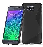 Cadorabo DE-105319 - Funda para Samsung Galaxy Alpha (Silicona y TPU, diseño de línea S), Color Negro