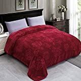 JYK Luxury Fleece Plush Blanket 3.5 LB, Korean Mink Blanket for Winter (Size 79' x 91') - Super Soft and Warm, Lightweight and Cozy Fuzzy Solid Color Embossed Flannel Blanket for Bed, Red