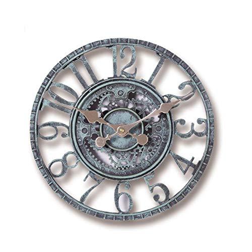 Pared Reloj 30cm Grande Funciona con Pilas Impermeable Vintage Adorno de Jardín 3D Interior Exterior Resina Decoración del Hogar Abierto Cara Oficina Bronce Verde Impermeable Barra