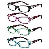 VVDQELLA Pack de 4 Gafas de Lectura Lectores de Moda Cómodos para Mujer Negro/Rojo/Verde/Azul