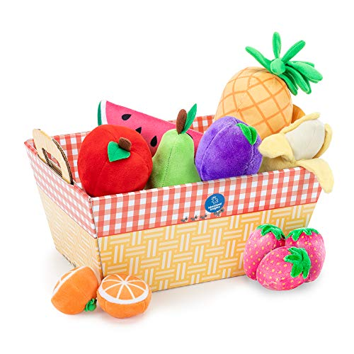 Educational Insights Plush Fruit Basket 12Piece Set Easter Toy Pretend Play Food EarlyLearning Skills Ages 2