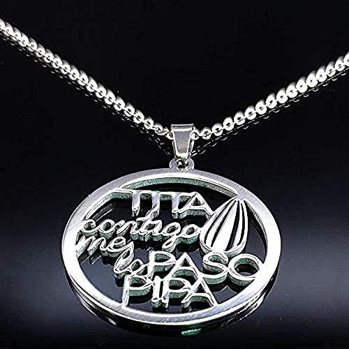 WYDSFWL Collar Mujer Hombre TITA Collar Llamativo de Acero Inoxidable para quien Color Plata Collar de Letras joyería bisutia Mujer