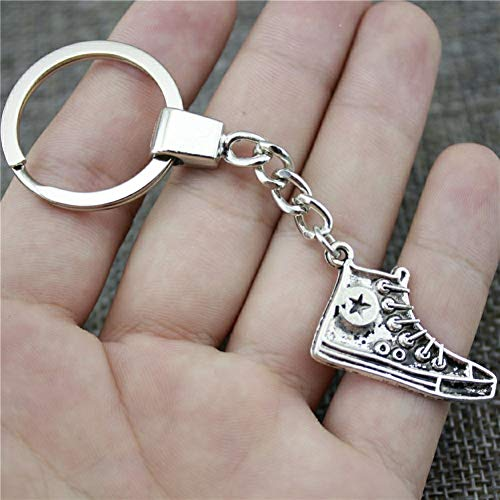 N/ A Mode sleutelring metaal sleutelhanger sleutelhanger sieraden cadeau antiek brons antiek zilver kleur sportschoen 30mm hanger