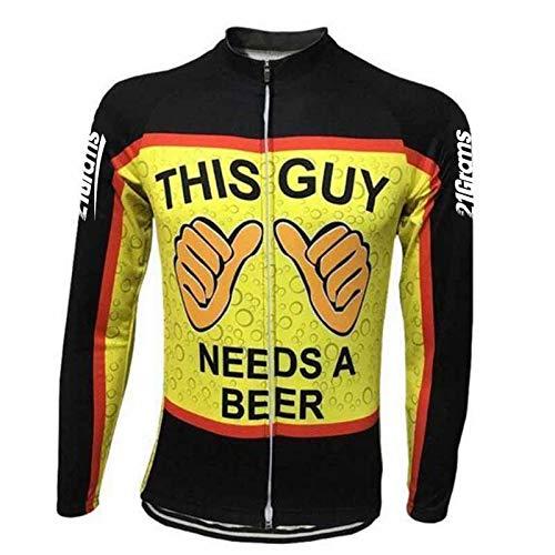 Herren Radtrikot Langarm Winter Oktoberfest Bier Bike Shirt Top Mountainbike Atmungsaktiv Gr. L, Schwarz + Gelb