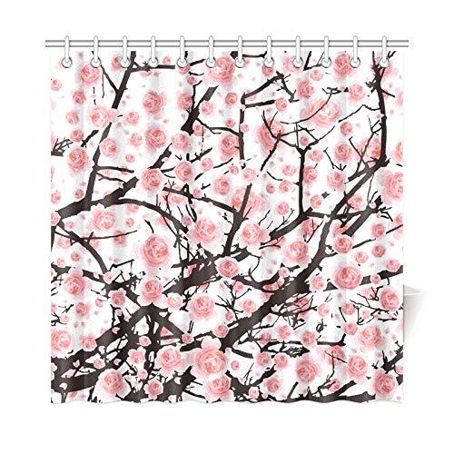 JOCHUAN Home Decor Bad Vorhang Voller Blüte Rosa Sakura Baum Kirsche Polyester Stoff Wasserdicht Duschvorhang Für Badezimmer, 72 X 72 Zoll Duschvorhänge Haken Enthalten