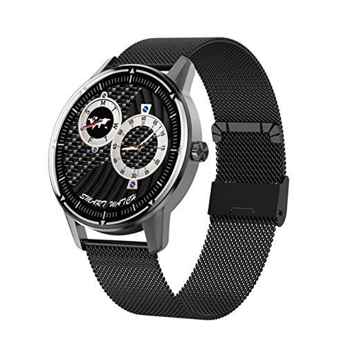 NVFED Smart Watch Männer IP67 Wasserdichtes Herzfrequenz-Blutdruck-Sauerstoffmonitor Smartwatch for Android iOS pk Uhr GT 2 (Color : Black Metal)