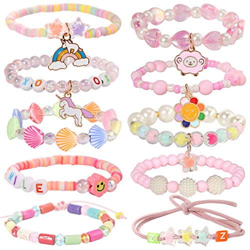 PinkSheep Beads Bracelet for Kids, Girls Boho Bracelet, Friendship Tiny Bracelet, 10 PC, Value Set