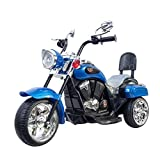 DTI Direct, 6V Electric Chopper Style Ride ON Motorcycle for Kids, 6V Battery,Blue