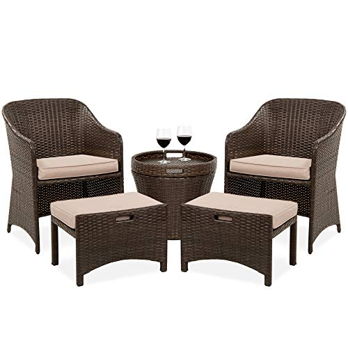 Best Choice Products 5-Piece Outdoor Wicker Bistro Set Multipurpose Furniture for Patio, Yard, and Garden w/ 2 Chairs, 2 Ottomans, and Side Storage Table, Space Saving Design, No Assembly - Brown