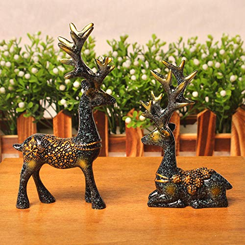 BBKX esculturas y estatuas de Jardin 1 par de estatuilla de Ciervo de Resina Estatua hogar Sala de Estar decoración artesanía Escultura Regalos creativos Adorno de Escritorio Moderno-A-1