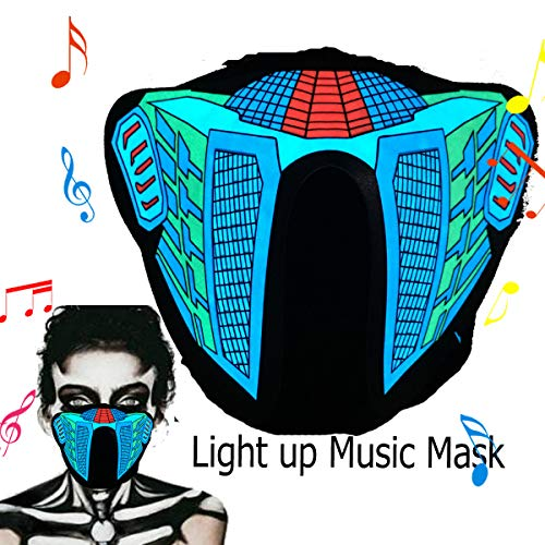 Halloween Mask Neon Mask led mask Scary Mask Light up Mask Cosplay Mask Lights up for Halloween Festival Party (Tiger Mouth Mask)