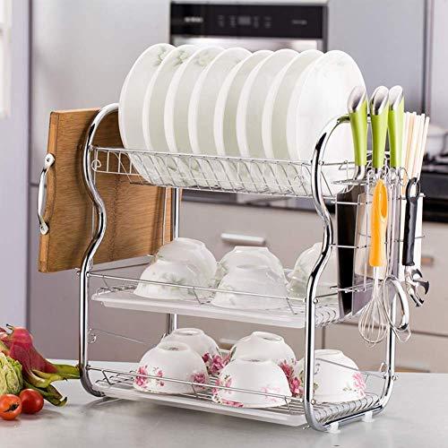 FEE-ZC Praktisch Praktisches Regal 3-stöckiger Geschirrkorb Geschirrkorb Küchenbedarf Abstellkorb Abstellkorb mit Essstäbchen/Messern/Schneidebretthalter, B