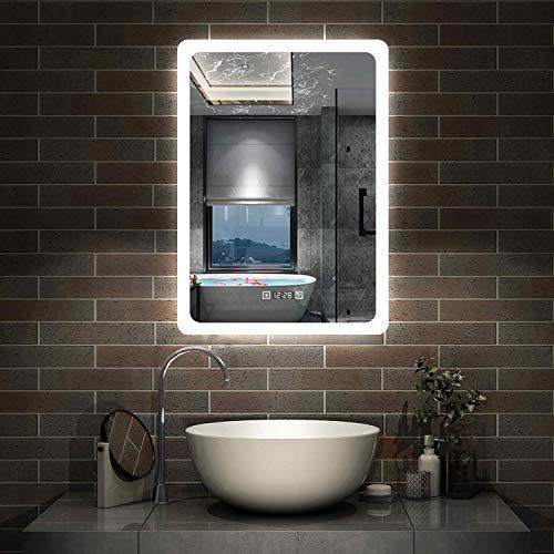 AicaSanitär LED Badspiegel 50×70cm Wandspiegel mit Uhr, Touch, Beschlagfrei Badezimmerspiegel mit Beleuchtung Lichtspiegel IP44 Kaltweiß energiesparend
