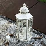 Lewondr Linterna de Vela Decorativa, 16 Inch Linterna de Estilo Retro Francés con Patron de Iris, Lámpara Colgante Decorativa Clásicas...