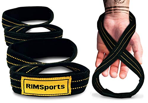 RIMSports Figure 8 Straps-Premium Deadlift Straps for Weight Lifting and Power Lifting -Non Slip Neoprene Padded Weight Lifting Straps (Black, 80 cm)