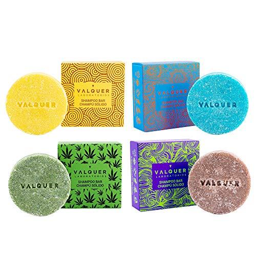 Válquer Pack Champús Sólidos Exóticos (Arándano y Aguacate, Naranja y Papaya, y Canela, Cannabis), Vegano, 93% Origen Natural, Limón, 4 x 50g, 200 g