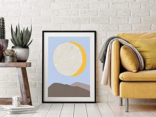Arte de pared de sol y luna,montañas de cielo azul,obras de arte naturales,carteles azules y amarillos,impresiones de paisajes minimalistas,pinturas decorativas familiares sin marco A56 30x40cm
