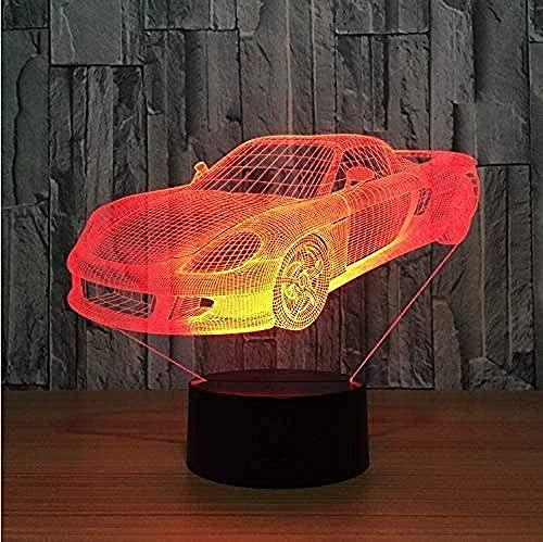 Lonfencr Lámpara de mesa 3D para niño Ferrari coche mejor regalo para niños ilusión 3D 16 color cambiante dormitorio decoración iluminación USB carga control remoto táctil