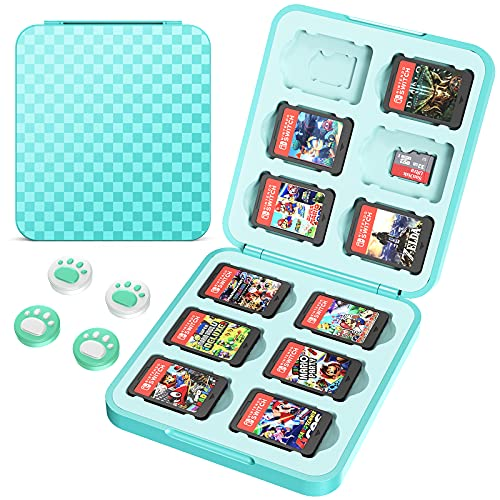 HEYSTOP Game Card Case Compatible with Nintendo Switch Games,12 Slots Storage Protective Box, Slim and Portable Protective Shell Switch Storage Cartridge with 4 Joy-Con Thumb Gaps, Turquoise