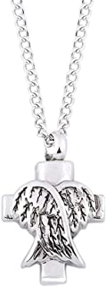 Fashion Cool Punk Silver Necklace Ashes Memorial Necklace Angel Wings Shaped Pendant Necklace of Can Open Urn Pendant