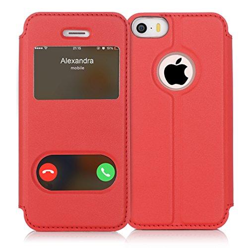 FYY iPhone se Funda, iPhone 5S, iPhone 5Móvil, Funda de Piel sintética ecológica de Calidad (Funda Carcasa Case Cover Funda) para Apple iPhone se/5S/5 A-Rot iPhone SE/5S/5