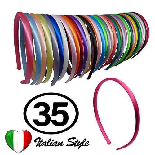 35 Haarbänder Renmex Haarreifen für Mädchen und Kinder Hochwertige mehrfarbige Mädchen-Stirnbänder Bedeckt mit Bändern aus Satin Viele Farben Zubehör Aussehen Kleidung Haarbänder Mode