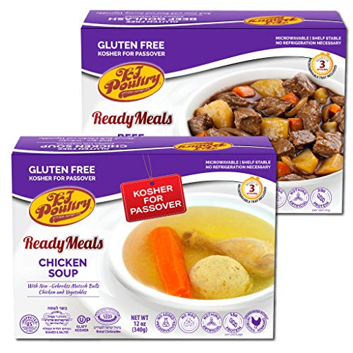 Kosher For Passover Food Matzo Ball Chicken Soup + Beef Goulash - MRE Meat Meals Ready to Eat - Gluten Free (2 Pack - Variety) - Prepared Entree Fully Cooked, Shelf Stable Microwave Dinner