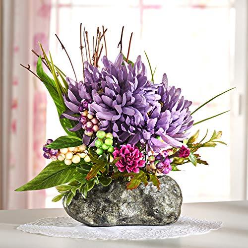 Dekoleidenschaft Blumengesteck Chrysanthemen, 28 cm hoch, Sommerblumen-Strauß, Kunstblumen