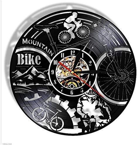 Vinilo CD Reloj de Pared Bicicleta estática Registro Retro Accesorios para el hogar adecuados para Amantes de los Regalos de música Redondo
