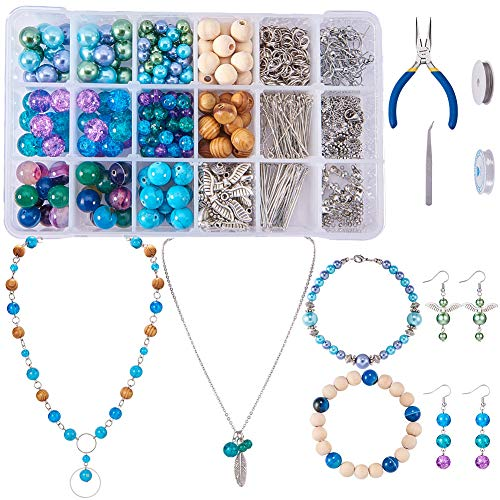 SUNNYCLUE 1 Set 767pcs Jewelry Making Kit Angel Wings Earrings Feather Pendant Bracelet Necklace Include Natural Gemstone Beads, Pearl and Wood Beads and Jewelry Finding Tools for Girls, Color 2
