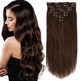 Dark Brown Hair Extensions Clip in Human Hair...