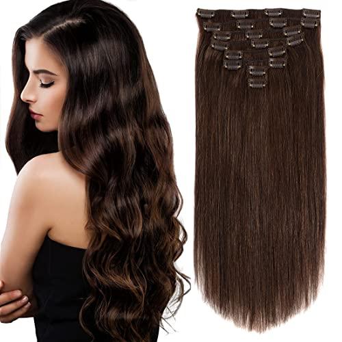 Dark Brown Hair Extensions Clip in Human Hair 18'' 8pcs 120g Straight...