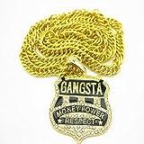 N/A Collar Collar Aleación Hip Hop Hip Hop Collar Carta Colgante Marea Europea Clavícula Cadena Pintura al óleo Letra 4.5 * 5cm (Amarillo Dorado) -Candena Cubana 76cm