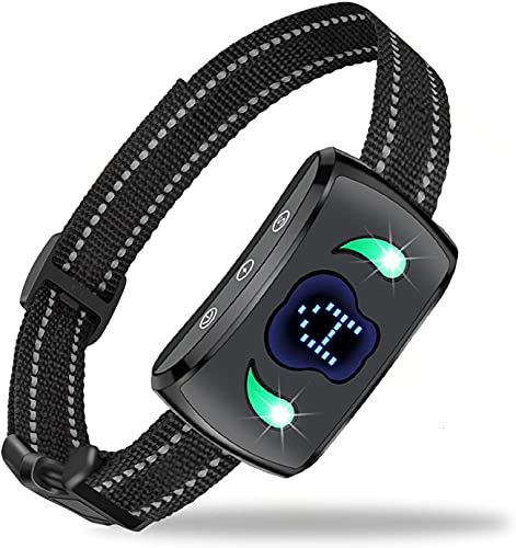Collar antiladridos para Perros, Collar antiladridos, Collar de Entrenamiento con Control de ladridos con 4 Collares de Entrenamiento de sensibilidad Ajustable y Humanos, con indicador LED