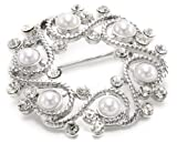 "Napier ""Gift Boxed"" Silver-Tone with Pearl Wreath Brooch"