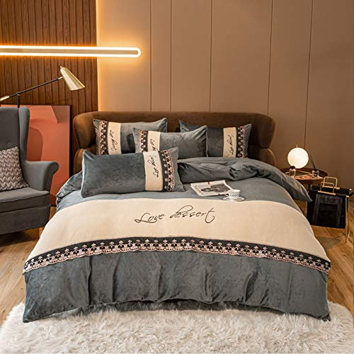 Plush Micro Fleece Bed Sheet Set Extra Warm Polar Fleece 4 Pcs Winter Bed Sheets Super Soft Extra Plush Fleece Sheet Set Cozy, Warm, Breathable,Gray,2.0M