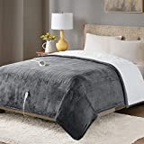 Degrees of Comfort Sherpa Plush Heated Blanket, Full Size Bed Electric Blankets with 20 Heat Settings Controller | 1-10 Hour Auto Shut Off |Washable, 80' X 84' Grey